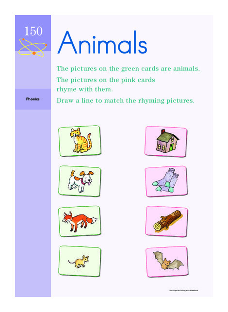 Kindergarten Reading & Writing Worksheets: Rhyming Animals
