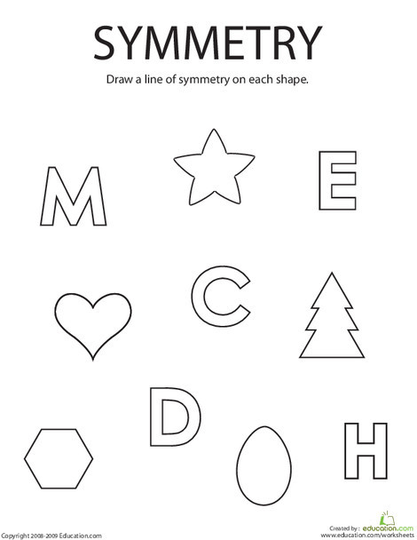 First Grade Math Worksheets: Drawing Lines of Symmetry