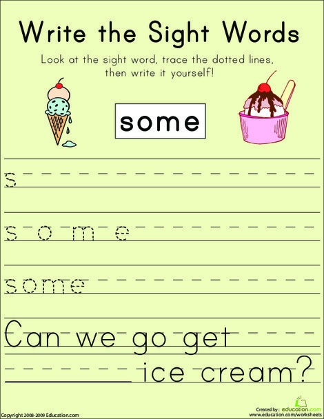 "First Grade Reading & Writing Worksheets: Write the Sight Words: ""Some"""