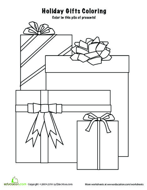 Preschool Holidays Worksheets: Christmas Presents Coloring Page