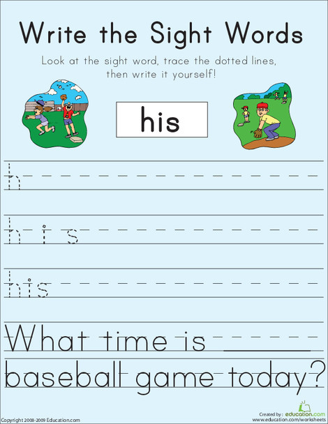 """First Grade Reading & Writing Worksheets: Write the Sight Words: """"His"""""""