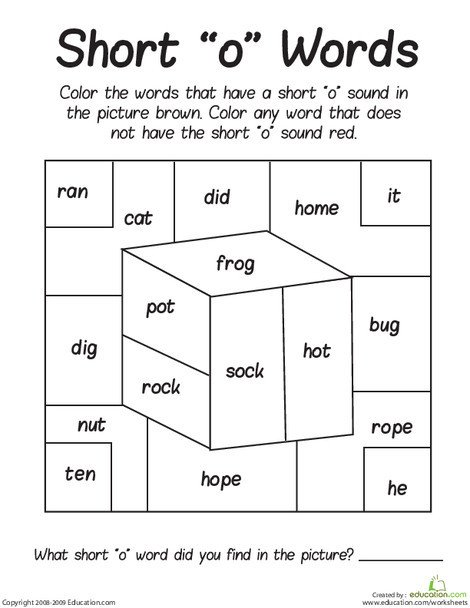 "First Grade Reading & Writing Worksheets: Short ""O"" Sounds Color Puzzle"