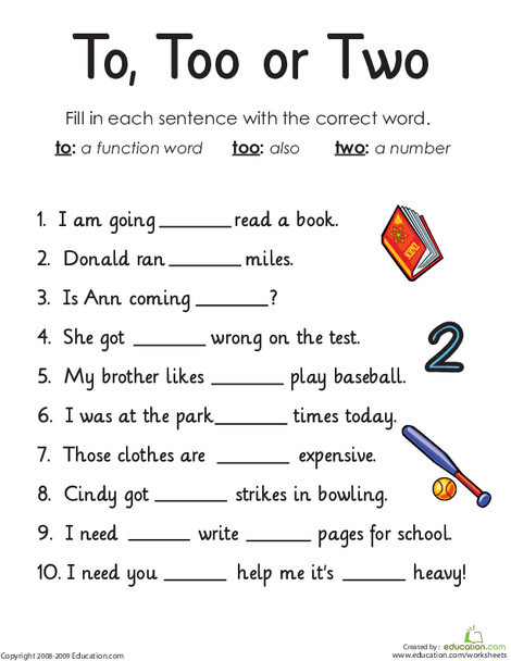 First Grade Reading & Writing Worksheets: Homophones: To, Too or Two