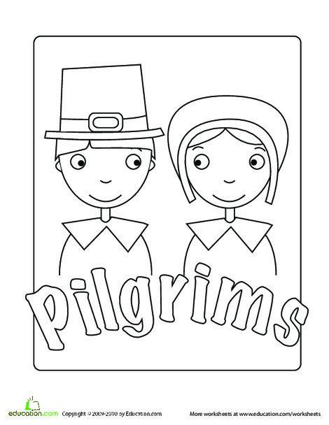 Kindergarten Holidays Worksheets: Pilgrim Coloring Page
