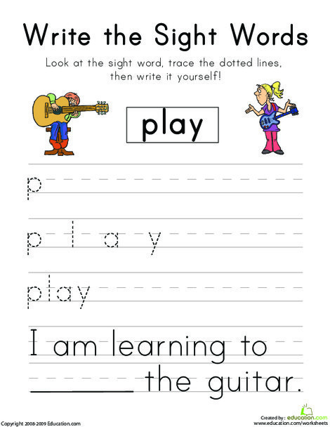 """Kindergarten Reading & Writing Worksheets: Write the Sight Words: """"Play"""""""