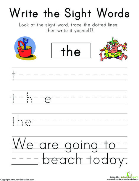 """Kindergarten Reading & Writing Worksheets: Write the Sight Words: """"The"""""""