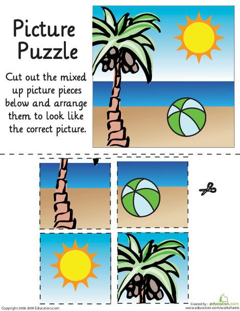 Kindergarten Math Worksheets: Beach Day Picture Puzzle