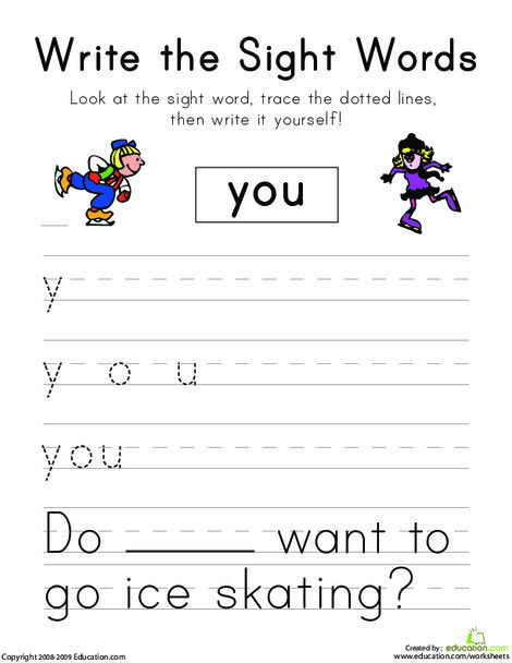 "Kindergarten Reading & Writing Worksheets: Write the Sight Words: ""You"""