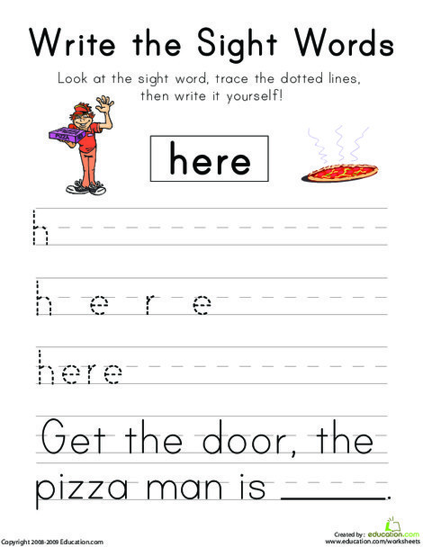 """Kindergarten Reading & Writing Worksheets: Write the Sight Words: """"Here"""""""