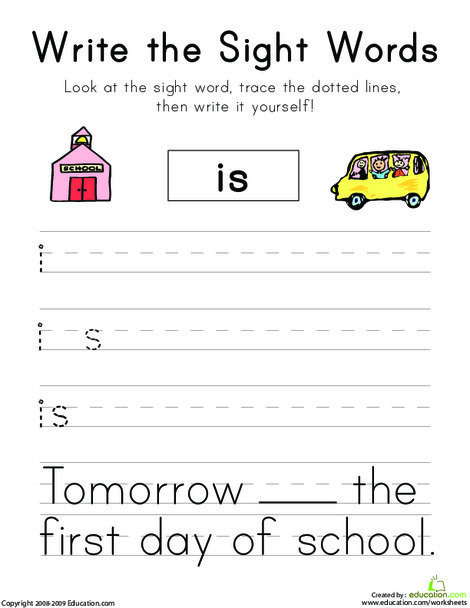 """Kindergarten Reading & Writing Worksheets: Write the Sight Words: """"Is"""""""