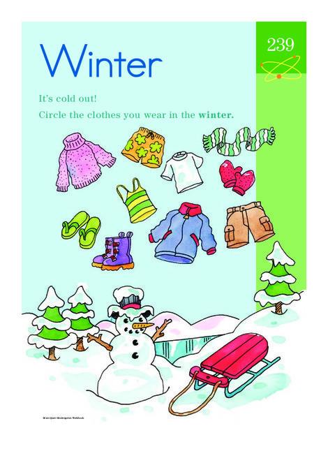 Kindergarten Science Worksheets: Winter Wear: Learning About the Seasons