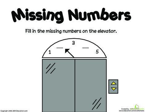 Kindergarten Math Worksheets: Missing Numbers: 1-5