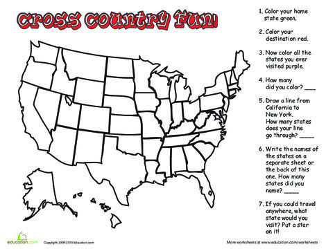 Second Grade Social studies Worksheets: Blank Map of U.S.
