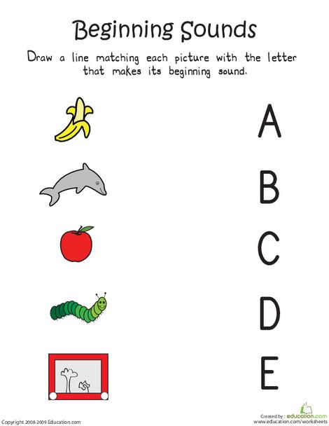 Kindergarten Reading & Writing Worksheets: Beginning Sounds: A to E