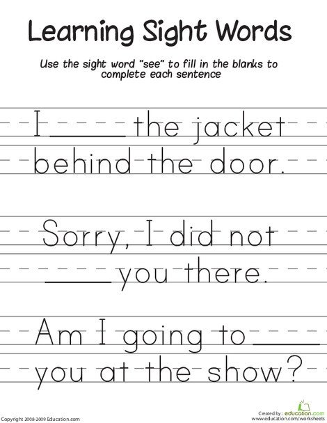 """First Grade Reading & Writing Worksheets: Learning Sight Words: """"See"""""""