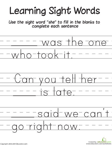 """First Grade Reading & Writing Worksheets: Learning Sight Words: """"She"""""""