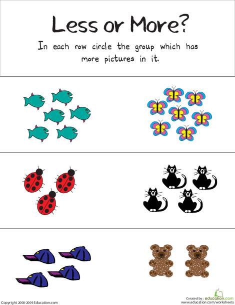 Kindergarten Math Worksheets: Less or More?
