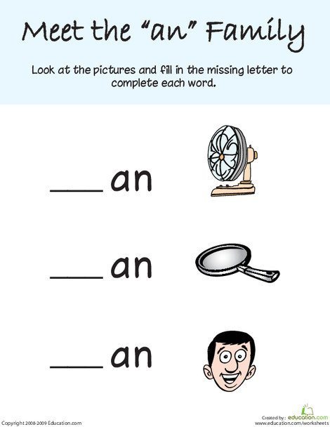 """Kindergarten Reading & Writing Worksheets: Words That Rhyme with """"Man"""""""
