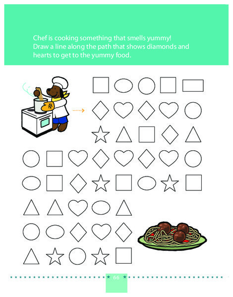Preschool Math Worksheets: Follow the Diamond and Heart Path