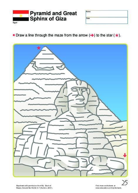 First Grade Offline games Worksheets: Egyptian Maze