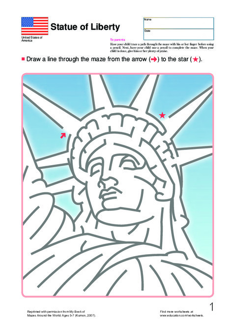 First Grade Offline games Worksheets: A-Mazing Lady Liberty!