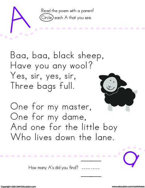 Kindergarten Reading & Writing Worksheets: Find the Letter A: Baa, Baa Black Sheep