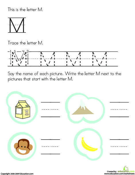 Preschool Reading & Writing Worksheets: Trace and Write the Letter M