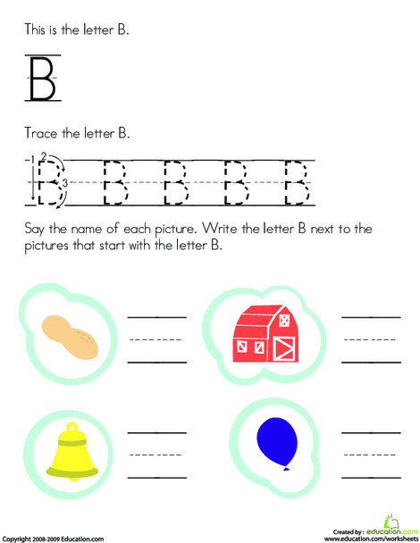 Preschool Reading & Writing Worksheets: Trace and Write the Letter B