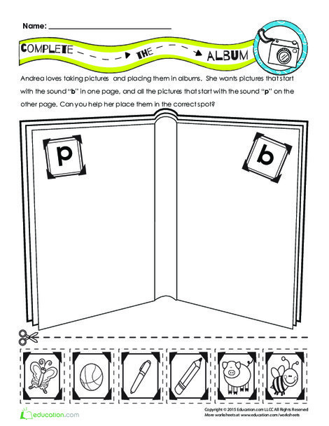 First Grade Reading & Writing Worksheets: Andrea's Album: Practicing Letter Sounds