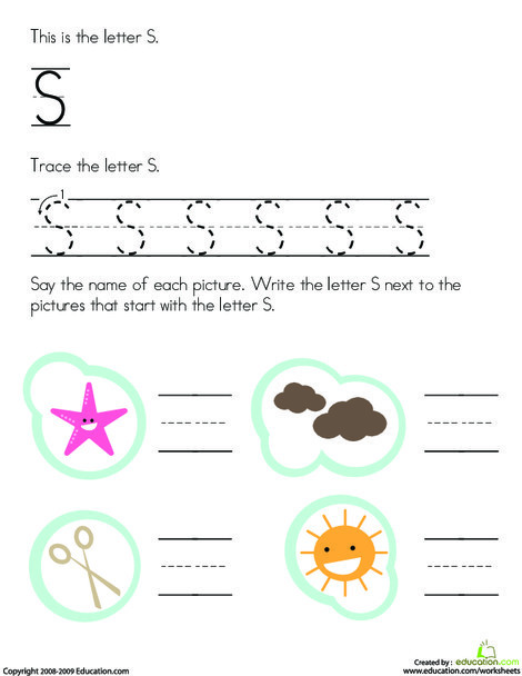 Preschool Reading & Writing Worksheets: Letter S Tracing