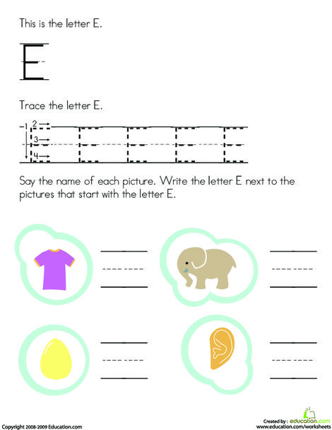 Preschool Reading & Writing Worksheets: Trace and Write the Letter E