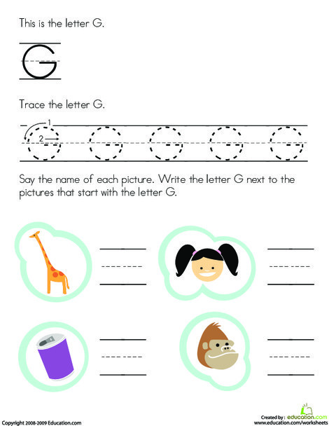 Preschool Reading & Writing Worksheets: Tracing Letters: G