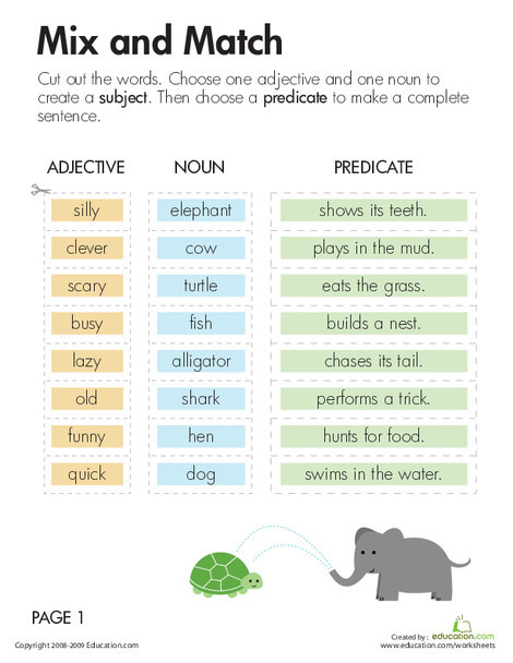 Third Grade Reading & Writing Worksheets: Subject and Predicate: Mix and Match
