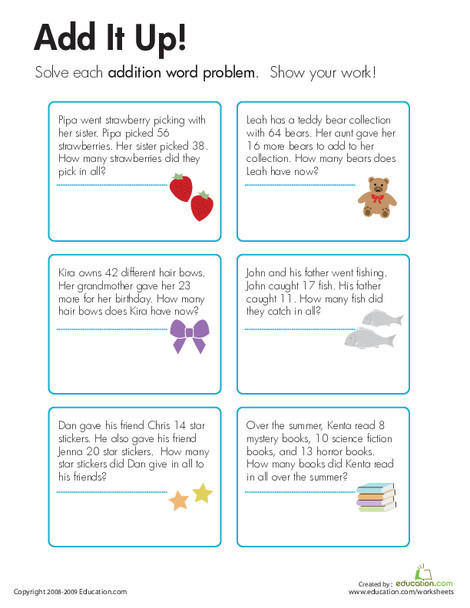 Third Grade Math Worksheets: Addition Word Problems: Add It Up!