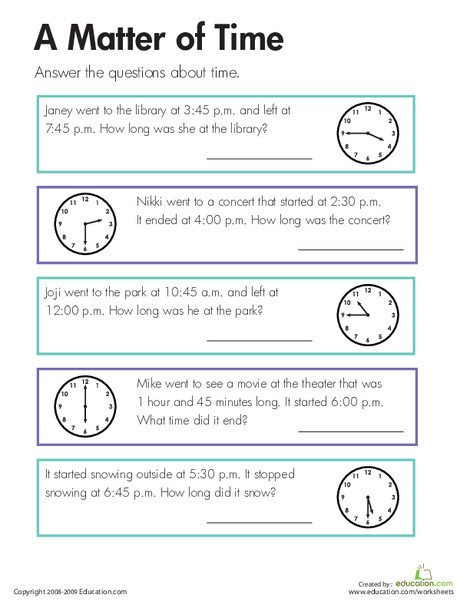 Third Grade Math Worksheets: A Matter of Time