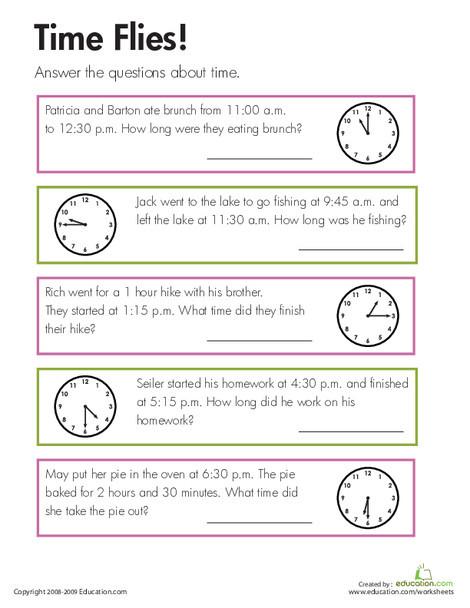 Third Grade Math Worksheets: Time Flies!