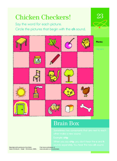 First Grade Reading & Writing Worksheets: Chicken Checkers: Learning About Ch Sounds