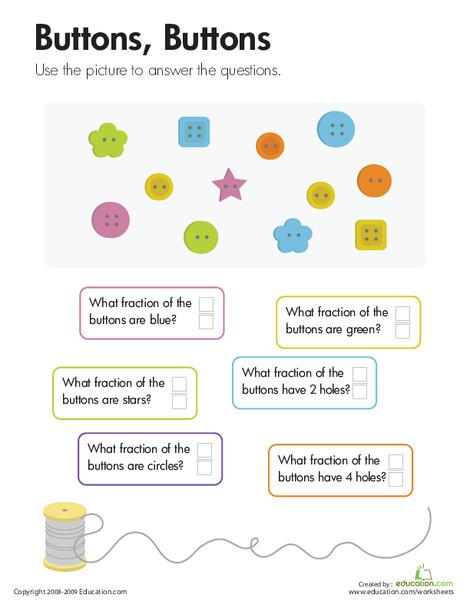 Third Grade Math Worksheets: Fractions: Buttons, Buttons