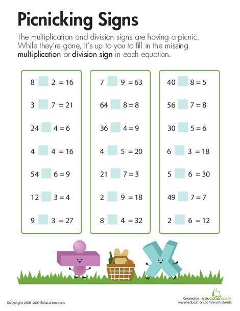Third Grade Math Worksheets: Multiplication & Division: Picnicking Signs