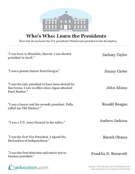 Fifth Grade Social studies Worksheets: Who's Who: Learn the Presidents
