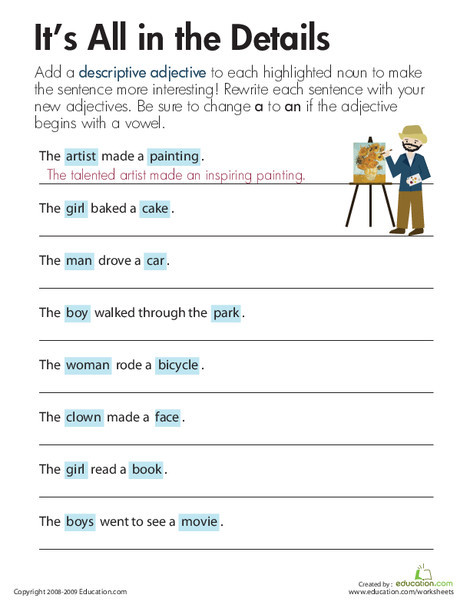 Third Grade Reading & Writing Worksheets: Descriptive Adjectives: It's All in the Details