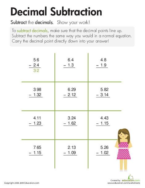 Third Grade Math Worksheets: Decimal Subtraction