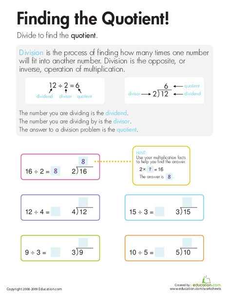 Third Grade Math Worksheets: Division: Finding the Quotient!