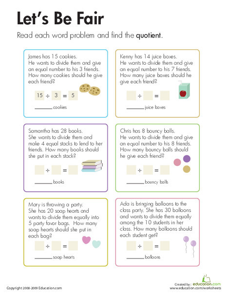 Third Grade Math Worksheets: Division: Let's Be Fair!
