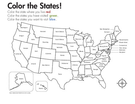 Third Grade Social studies Worksheets: Geography: Color the States!