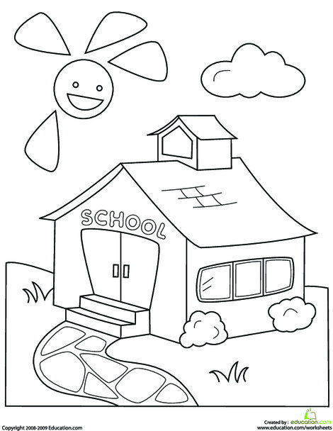 Kindergarten Seasons Worksheets: Color the Schoolhouse