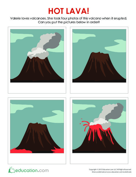 Preschool Reading & Writing Worksheets: Hot Lava! What Happens Next?