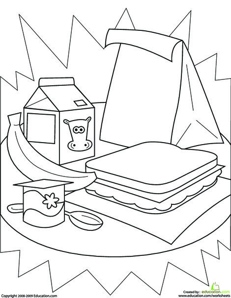 Kindergarten Seasons Worksheets: Color the Healthy Lunch!
