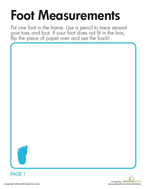 Second Grade Math Worksheets: Foot Measurements