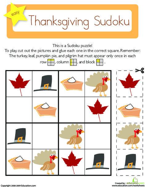 Kindergarten Math Worksheets: Sudoku for Kids: Thanksgiving